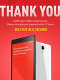 Xiaomi Singapore Sold 5,000 Units of Redmi Note in 42 Seconds