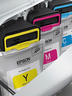 To hold more ink, Epson's new WorkForce Pro WF-R8591 uses ink packs instead of cartridges