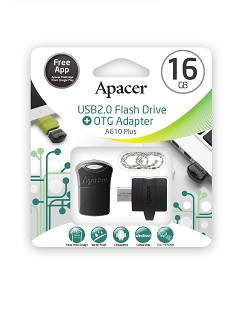 Apacer releases the package A610 OTG Adapter with USB2.0 Super-mini USB Drive AH116