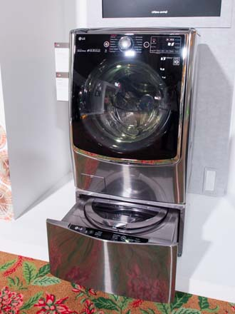 This LG washing machine is hidden under another LG washing machine!
