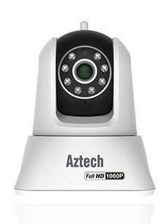 The Aztech WIPC411FHD is a Full-HD wireless IP camera that pans and tilts