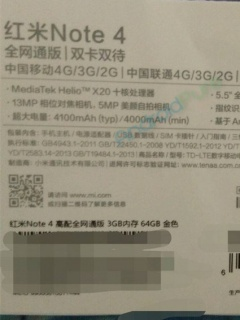 Retail box of Redmi Note 4 reveals Helio X20 chipset and a 4,100mAh battery