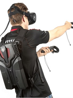 The MSI VR One is a futuristic-looking VR backpack with an NVIDIA 10-series card