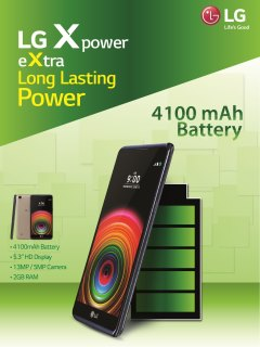LG X Power offers long-lasting power with its 4100mAh battery