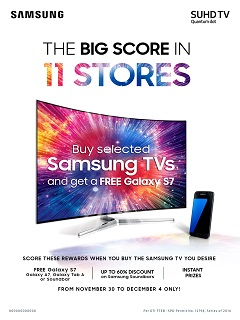 "Upgrade your home entertainment with Samsung's ""Big Score in 11 Stores"" promo"