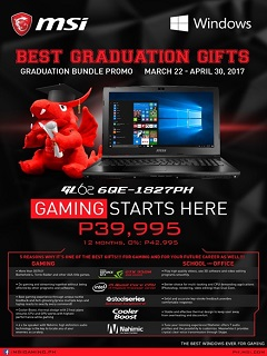 MSI Philippines Notebook offers graduation promo, gives discounts and freebies