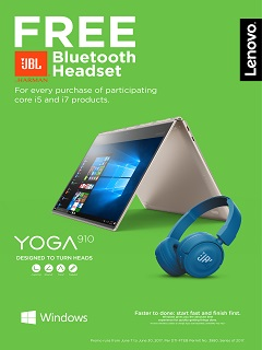 Get your free JBL Bluetooth headset with Lenovo's Back To School promo