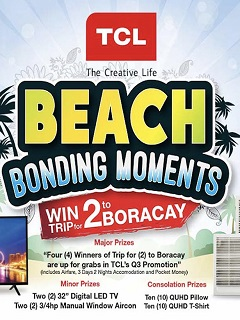 Win a trip for two to Boracay in TCL's Beach Bonding Moments promo