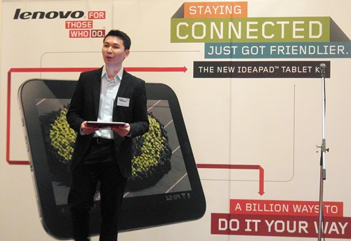 Keith Liu, Business Development Director, was on stage to explain the features of the Lenovo IdeaPad Tablet K1.