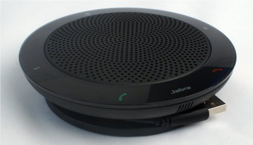 The Jabra Speak 410 is disc-shaped and measures approximately 25cm across the diameter.