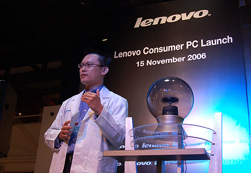 Koh Kong Meng, Director, Strategy and Operations, Lenovo Asean, proudly launches the latest consumer range of desktops and notebooks. The lab coat he is wearing will soon be a familiar sight on all Lenovo advertisements.