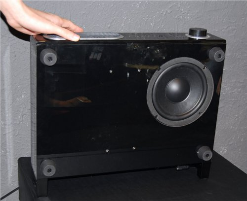 Now you can see the 6.5-inch subwoofer driver at the base of this slim unit. The Power Bird can be stored and stacked in either the vertical or horizontal position.