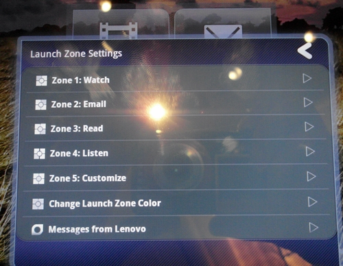 "A tap on the left side of the ""Launch Zone"" lets you customize the shortcuts."