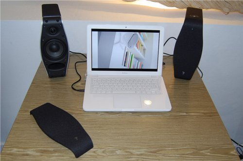If a 2.1-speaker system is too cumbersome you can try out the XS Book which comes in a 2.0 configuration.