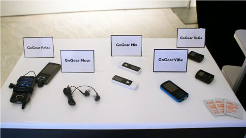 The entire range of Philips' portable media and mp3 players from the event.