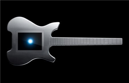 The Misa Digital Kitara guitar has buttons for frets and a touch pad where the soundhole should be.