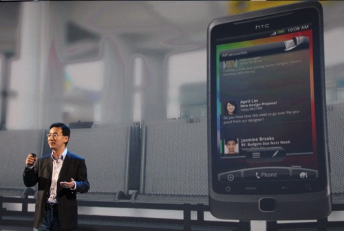 John Wang, Chief Marketing Officer for HTC takes the stage to showcase some of the latest features of the new Sense UI.