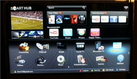 A screenshot of the Samsung Smart Hub showcasing content from Star Hub (top right), the Search All function (top center) and a whole variety of social media applications.