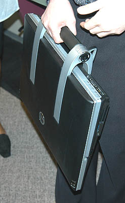 The XPS M2010's design integrates a handle for you to transport this 8.3Kg 'notebook' around when needed.