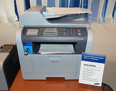 The ML-5530FN network printer has PictBridge technology to allow direct printing from USB devices and prints at up to 28 pages per minute in A4. This new printer will be available in mid August 2006 at a RRP of S$1199 and is targeted at small and medium workgroups.