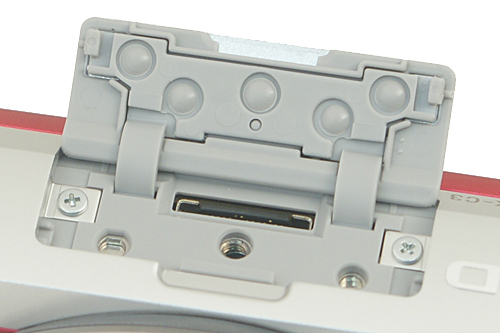 The accessory terminal on top of the camera can be used for attaching a flash unit, such as the bundled HVL-F7S.