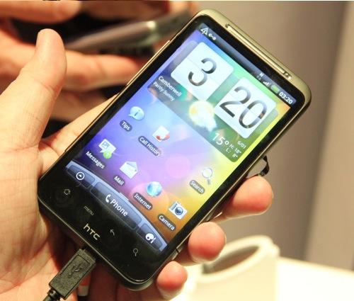 The HTC Desire HD features a swanky 4.3-inch SLCD screen.