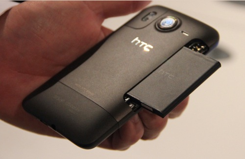 The removable battery is located in an easily-accessible slot along the side of the HTC Desire HD.