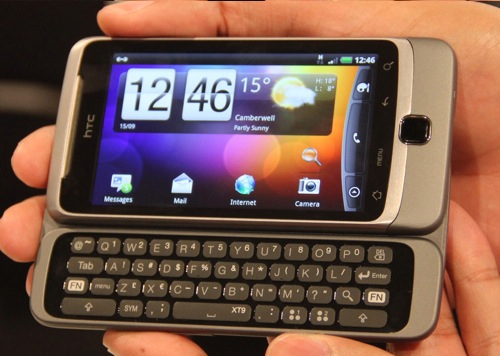 Here is the HTC Desire Z, with built-in QWERTY keypad.