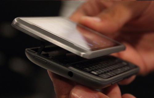 Shown here is the Z-hinge mechanism that HTC employed on the Desire Z to accommodate the built-in QWERTY keypad.