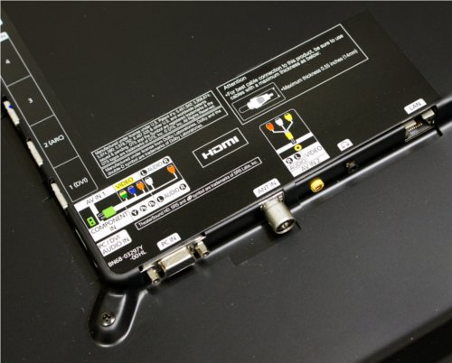 Breakout cables for the composite and component input ports help the Samsung D8000 achieve its slim profile with less cabling.
