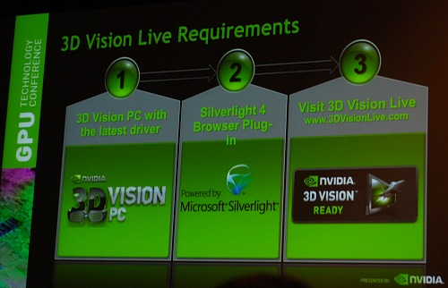A 3D Vision equipped system is required to experience 3D Vision Live content initiative from NVIDIA. So the requirements are on the steep side of things.