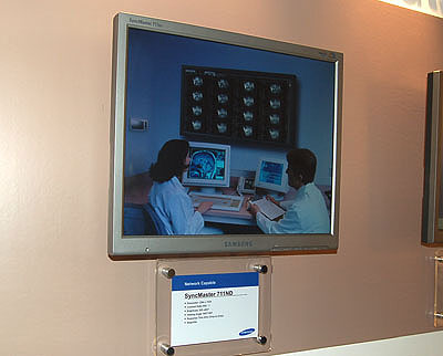 The 711ND is the latest Network Monitor from Samsung. With an embedded AMD Geode GX466 processor and 128MB of ram within, you can access remote servers and other monitors connected to the local area network simply by plugging a keyboard to the monitor and using the neccessary network connection.