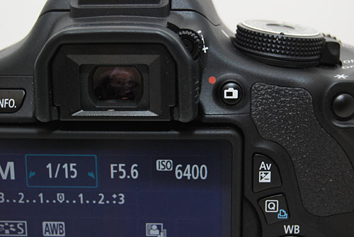 There is no dedicated video record button on the 600D, the Live View button only toggles between Live View and the optical viewfinder in shooting modes other than Video.