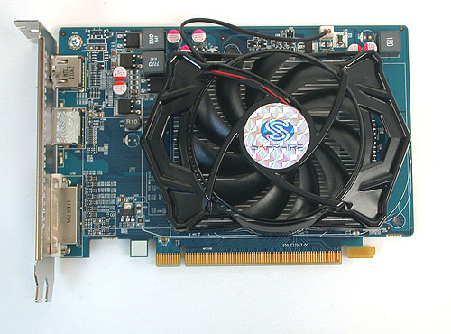 The Sapphire Radeon HD 6670 is a relatively short, stubby card which takes up two slots due to its larger, third-party cooler.