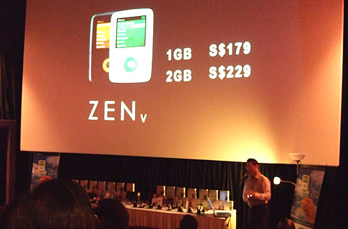 The vanilla ZEN V is S$179 and S$229 for the 1GB and 2GB players - an extremely competitive price.