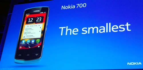 "Nokia 700 claims to be the ""smallest"" smartphone in the market at the moment. It depends on how you interpret the statement. Nokia interprets it in terms of volume, putting the 700 at 50 cubic centimeters."