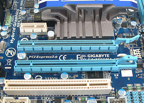 There's only one PCIe 2.0 x16 slot for your discrete graphics needs, but then again you weren't thinking of running a proper CrossFireX configuration on such a small motherboard, were you?