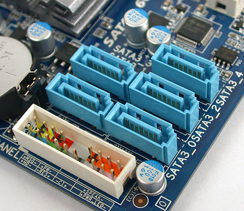 The five SATA ports here are all SATA 6Gbps versions, though we would have preferred them to be angled at the edge of the board and not facing upwards. The rightmost port here may get in the way of a dual-slot graphics card.