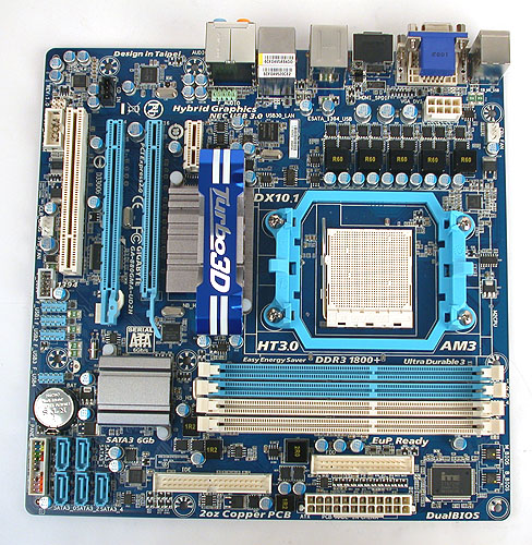 This Gigabyte 880G board is a microATX version that comes with a single PCIe 2.0 x16 slot and supports Hybrid Graphics.