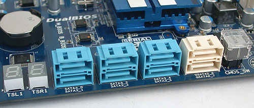 Gigabyte has never been shy about SATA ports and besides the six SATA 6Gbps ports from the SB850, it has included two SATA 3Gbps ports from its own, branded controller. A Clear CMOS button is also found here, with a plastic cover to prevent accidents.
