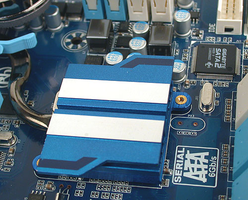 A passive heatsink lies over the SB850 Southbridge. Nearby is Gigabyte's own SATA2 controller, mentioned earlier (it's actually a re-branded JMicron controller to be accurate).