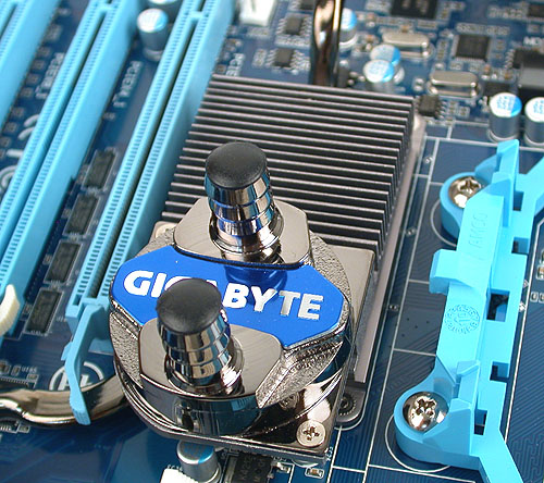 The familiar Gigabyte water block feature that's found on its high-end boards.