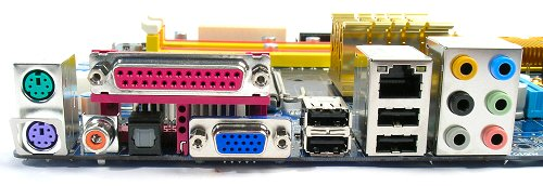 Rear panel includes optical/coaxial S/PDIF, analog surround jacks, USB 2.0 and RJ45 ports. The board sacrifices a Serial port for the VGA out. Notice that there are no other video output options.