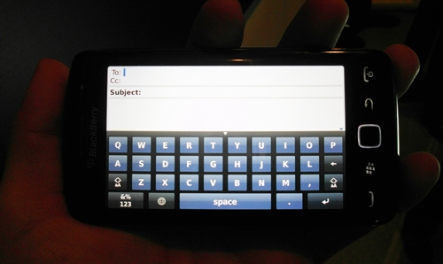 The virtual QWERTY keyboard can also be used in landscape mode, While RIM positions the BlackBerry Torch 9860 as an all touch device, do take note that the four menu buttons ( two on each side of the trackpad) are not touch-sensitive.