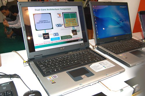 Acer range of Aspire notebooks running the Turion 64 X2 processors featuring large 15.4-inch WXGA LCDs and ATI Radeon Xpress 1100 plaform and graphics engine. The Aspore 5101AWLMi and 5102WLMi were on offer for S$1198 and S$1298 respectively.