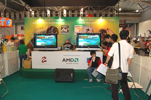 AMD and Hewlett-Packard also had displays setup for some gaming fun and the announcement of their joint sponsorship of Team Zenith, the DOTA champions of 2006 CAPL seasons.