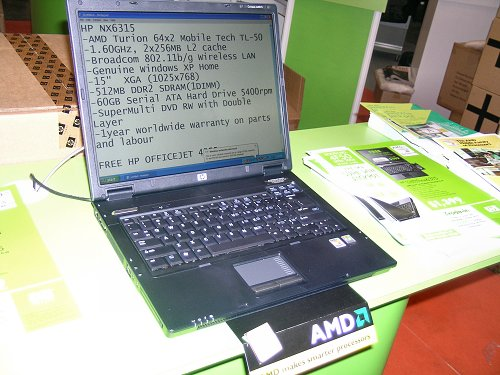 HP also had their own NX6315 notebook on display as well, featuring the Turion 64 X2 mobile CPU. Free gifts include a HP Officejet AIO too.