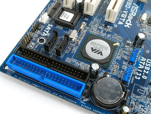 Both the IDE connectors as well as two SATA headers are located at the bottom of the board.