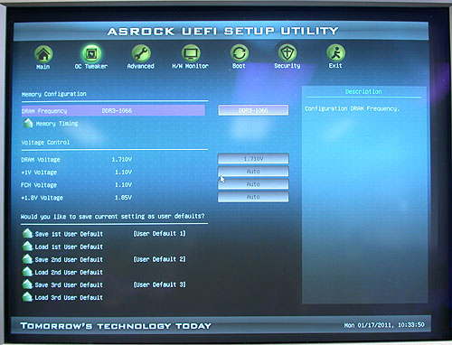 EFI BIOS is finally taking off. Similar to what we have seen of ASRock's implementation on its Sandy Bridge motherboards, it's also found on this Brazos board.