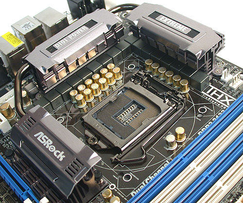 Gold tipped solid capacitors from Japan complement the 16+2 power phases that this motherboard is capable of producing. No doubt, ASRock has done its homework about what's necessary for a high-end motherboard.